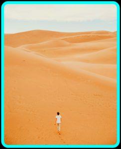 woman in desert crisis mode