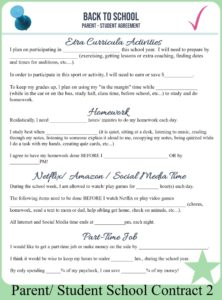 Parent- Child School Contract Free Printable
