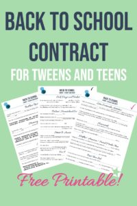 back to school contract