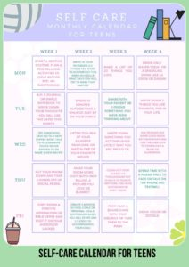 self-care activities worksheets for teens free printable