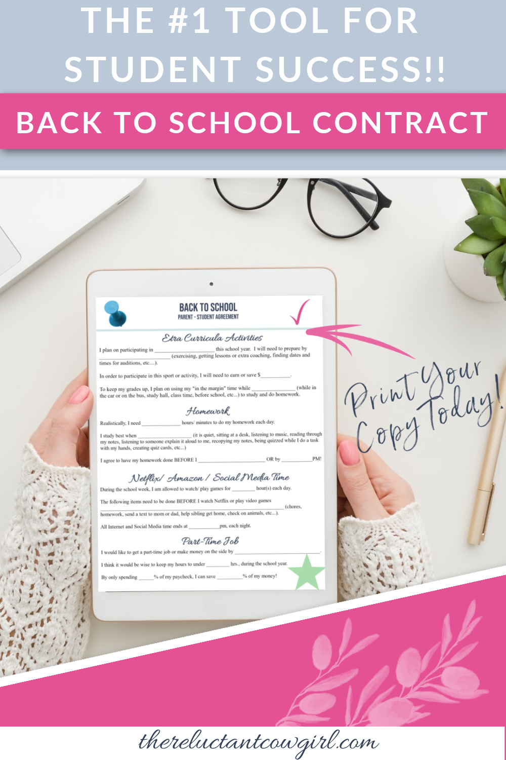 BACK TO SCHOOL Contract for Teens & Tweens